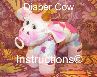 How to make a cow from Diapers. Diaper Tutorial Keepsake. GR8 baby shower gift, diaper cake topper, centerpiece, farm animal.