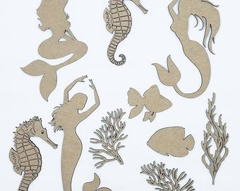 Mermaid Under The Sea Set Laser Cut and Engraved Chipboard 10 pieces FREE SHIPPING! in US