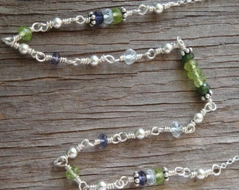 """PERSONALIZED BIRTHSTONE Necklace - """"By Land and By Sea"""" - Peridot, Aquamarine, Iolite & Tourmaline in Sterling Silver - Handmade by Dorana"""