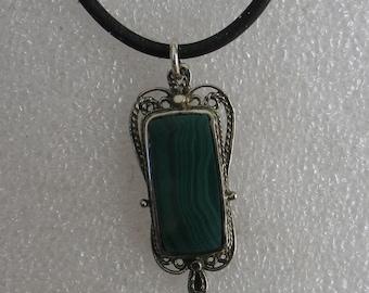 "Jewelry Rescue Vintage   Malachite Sterling Rectangular Filigree Pendant 1 1/2"""
