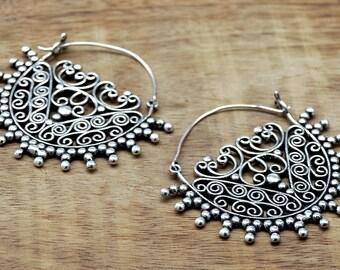 Gypsy Earrings, Tribal Earrings, Silver Earrings, Large Earrings, Filigree Earrings, Boho Earrings, Ethnic Earrings, Ornate Earrings