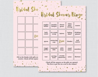 Pink and Gold Bridal Shower Bingo Printable - 60 Unique Pre-filled Bingo Cards AND Blank Cards - Pink and Faux Gold Foil Bridal Bingo 0010-P