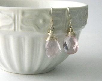 Pink Glass Sterling Silver Teardrop Earrings Dangle Earrings