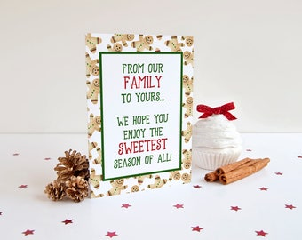 Gingerbread Man Christmas Card Greeting Card, Merry Christmas Holiday Card Watercolor Christmas, Sweetest Season of All Gingerbread Cookies