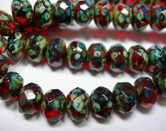 25 8x6mm Ruby Red Travertinne Czech Fire polished Rondelle beads