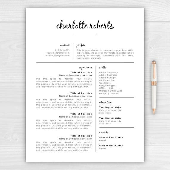 Creative Resume Template | Resume For Word U0026 Pages | Resume Template  Instant Download | CV Template | Resume Template Word | Resume Pages