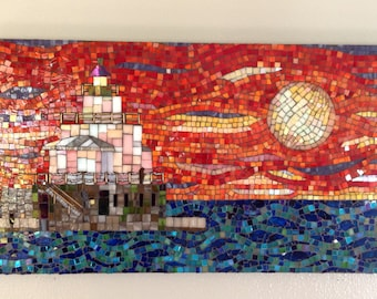 Stained Glass Mosaic Lighthouse Manty Morning