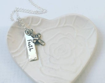 Mothers Day from Daughter Faith Cross Necklace - Hand Stamped Necklace - Religious Faith Jewelry - Christian Mother's Day Gift