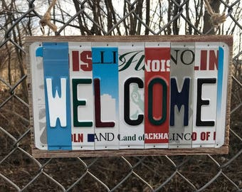 License Plate Letter Welcome Sign