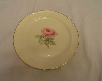 1940's Single Pink Rose Taylor, Smith & Taylor #8471 Dinner Plate