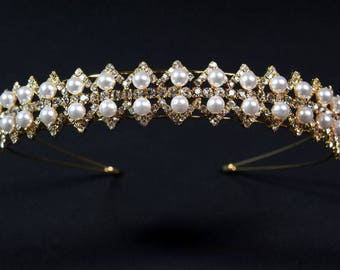 "Diadem ""Pearl"",Gold Rhinestone Wedding Tiara, Gold Bridal Tiara, Gold Tiara,Pearl,Silver tiara,Multicolor tiara,Tiara with pearls."