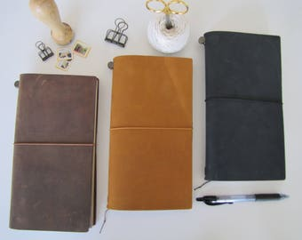 Genuine Traveler's Notebook Cover, Midori, BROWN, CAMEL, BLACK Leather Cover, Travel Journal, Original Travelers Notebook Leather Cover