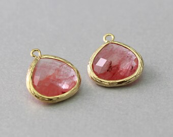 Cherry Quartz Teardrop Glass Pendant . Polished Gold Plated . Brass Framed . 10 Pieces / G2002G-CQ010