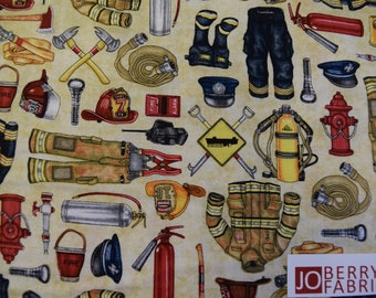 Fire Fighting Equipment from the 5 Alarm Collection by Dan Morris Designs for Quilting Treasures.  JoBerry Fabrics,  Fabric by the Yard.