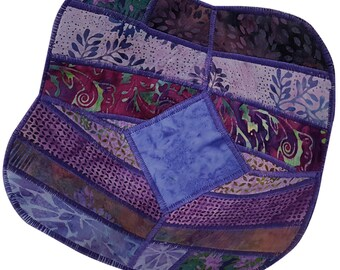 Decorative Bowl in Purple Batik Fabrics, Reversible