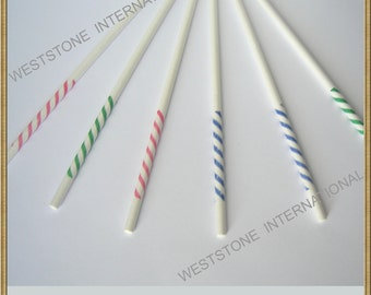 "60 pcs 6"" stripy printing Lollipop Sticks for Cake Pops"