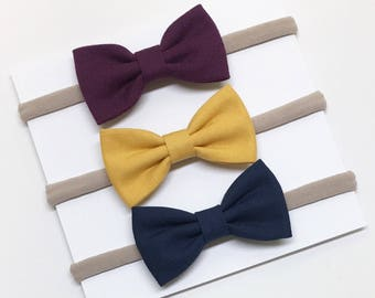 Baby Headband Bows - Eggplant, Mustard, Navy - Baby Headband - Clips or headbands