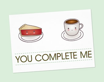 Twin Peaks Funny anniversary printable card - Cherry Pie and coffee PDF DIY Greeting card you complete me Happy Valentine's Day - 6x4 inch