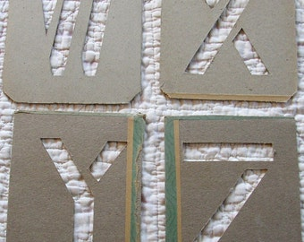 Vintage HAND CUT STENCILS alphabet letters  W  X  Y  Z  Mid Century,  printing pattern, projects