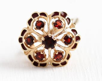 Sale - Garnet Cluster Ring - Vintage 10k Rosy Yellow Gold Red Enamel Statement - 1970s Size 5 3/4 Halo January Birthstone JJ White Jewelry