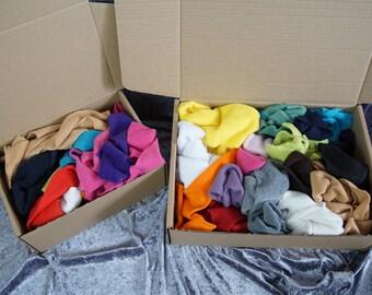 Box of Fleece Fabric Scraps - Scrap Pack, Fleece Off Cuts, Fabric Remnants