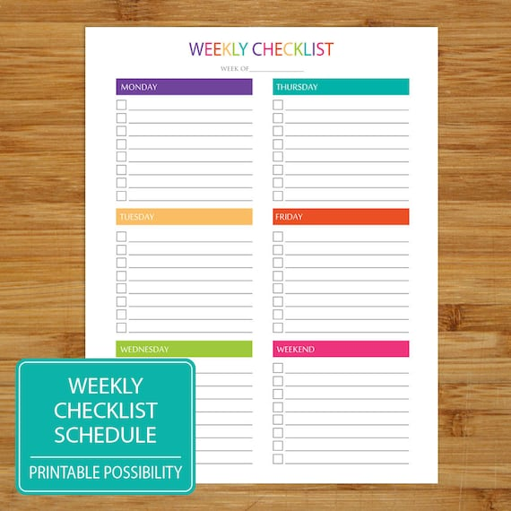Weekly Checklist Printable Weekly Checklist Brights