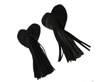 Real Leather Black Heart Nipple Tassels