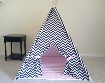 Kids Teepee with Mat  Childrens Tent Set Black and White Chevron Tent  Mat Mix and Match Tent set Made to Order