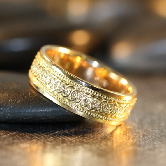 View Full Gallery Of Unique Engagement Rings Wedding Rings: Infinity Celtic Knot Wedding Band 14k Yellow Gold Unique Mens