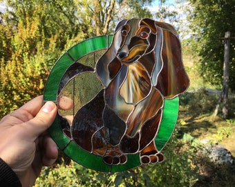 Stained Glass Dog / Dachshund Gift / Dog Suncatcher/ Stained Glass Window Panel / Hanging Dog / Tiffany Style / Stained Glass Art / Dog Love