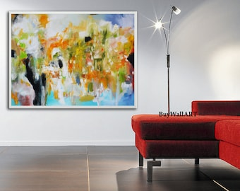 Green blue abstract giclée Print of painting, red painting, modern painting red, blue painting, huge wall art, large painting, canvas print