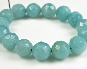Amazonite Faceted Round Bead - 8mm - 15 beads - B8372