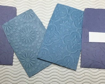 7 teeny tiny envelopes miniature mini note sets square blue embossed stationery handmade paper party favor weddings guest book table number