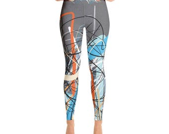 SGRIB Print Women's Fashion Yoga Leggings - xs-xl sizes - design number nine - on gray sand