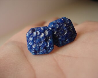 Vintage Carved Lapis Lazuli Glass Gold Pierced Earrings Floral Hip to be Square