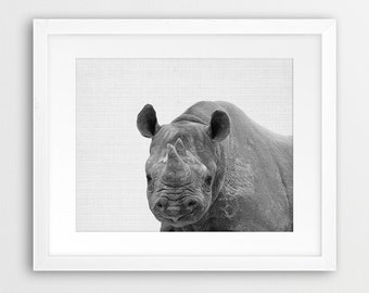 Rhino Print, Rhino Photo Print, Nursery Animal Wall Art, Safari African Animals, Black White Animal Print, Kids Room Decor, Printable Art