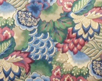 Floral Printed Chintz - Blue, Marsala and Green Jay Yang Style Floral Print - Floral Polished Cotton - 1 yd Floral Print