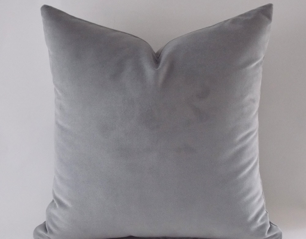 Gray Velvet Pillow CoversSolid Gray Pillows Decorative