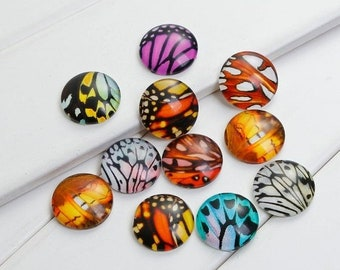 ON SALE Butterfly Wings Glass Dome Cabochons with Round Flatback Mixed Colors and Patterns at Random 20mm  5 pcs