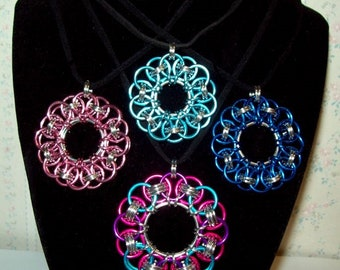 Chainmaille Celtic Wheel Pendant Necklace, Anodized Aluminum and Bright Aluminum Chain Mail Rings, Assorted Colors and Sizes, Chainmail