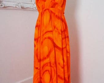 Felys Hawaii Fire Bright Orange Maxi Halter Dress Women Sz XS