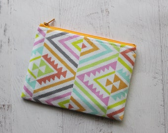 zip pouch - change purse - bohemian wallet - colorful zippered bag - small makeup bag  - southwestern print bag - womens wallet