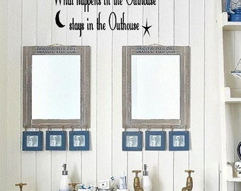Outhouse/Bathroom Vinyl Wall Decor Lettering Sticky Art Funny