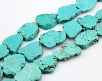 Slab Turquoise Beads,Turquoise Beads,Turquoise Stone,Gemstone Beads---30*40mm----10  Pieces---BT007