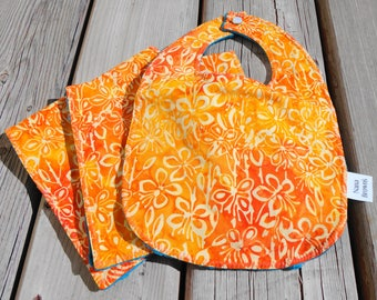 Baby Set: Baby Bib,  Burp Cloths - Orange Batik