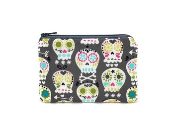 Sugar Skulls Coin Purse - Mini Zipper Pouch - Gray Change Purse - Skull Zipper Pouch - Card Wallet - Padded Pouch - Gift for her