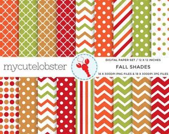 Fall Shades Digital Paper Set - assorted autumn paper pack, polka, chevron, stripes - personal use, small commercial use, instant download