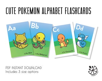 Cute Pokemon Alphabet Flashcards Printable INSTANT DOWNLOAD
