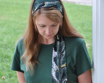Women's Reptile Print Green, Gold, Black Animal Print Stretch Hair Wrap, Headband, Headscarf, Hairtie, Headcovering, Head Covering, handmade