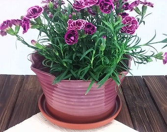 Pink Indoor Ceramic Planter Flower and Plant Pot, Home and Apartment decor, Terracotta Pottery by W.Summers